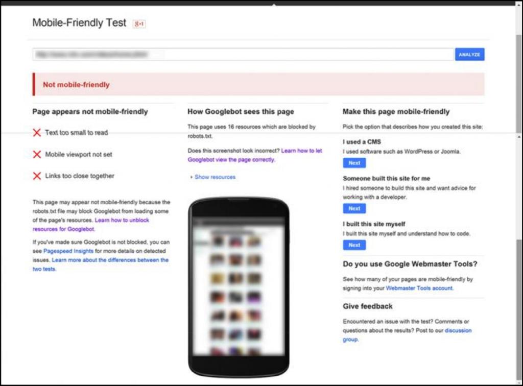 Google Mobile-Friendly Fail