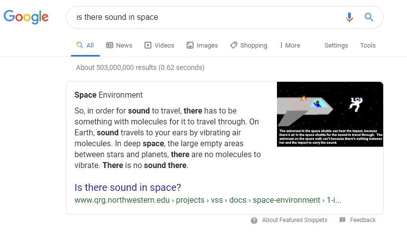 screen shot of google search results for best answer content about sound in space