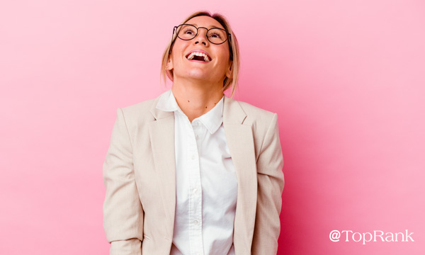 Smiling woman with a zest for B2B marketing image.